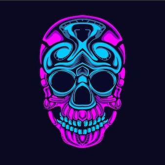 Glow style skull illustration