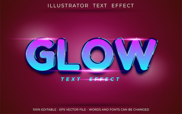 Glow text effect, editable three dimension text style