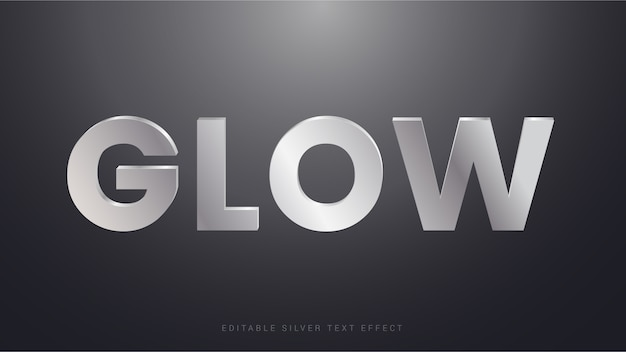 Glow timeless silver text effect