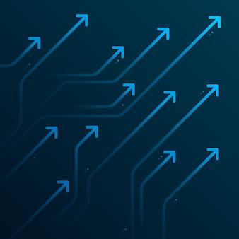 Светящиеся хитрые стрелки на темно-синем фоне футуристической концепции роста бизнеса