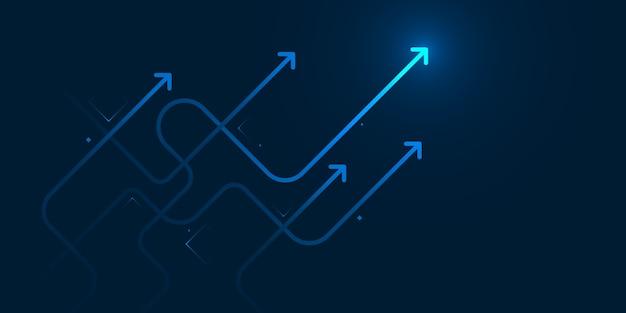 コピースペースビジネスの成長の概念で紺色の背景に邪悪な矢印を光らせる