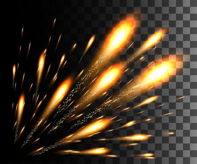 Свечение белый прозрачный эффект, блики линз, взрыв, блеск, линия, солнечная вспышка, искры и звезды. для иллюстрации шаблона искусства, баннер для празднования рождества, волшебный луч энергии вспышки
