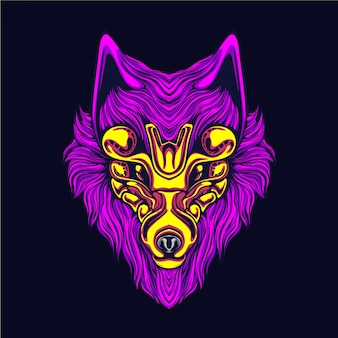 Glow wolf artwork illustration