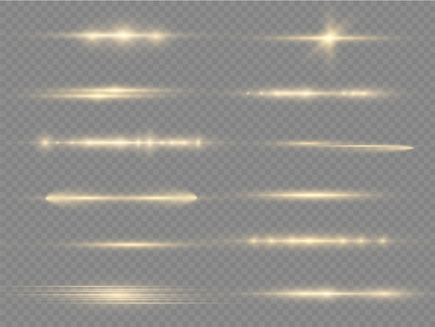 Glow yellow line laser beams bright gold glare horizontal light rays flash lens flares pack