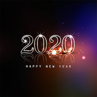 Glowing 2020 new year text colorful card
