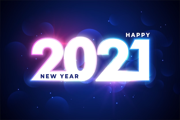 Glowing 2021 happy new year 2021 wishes card
