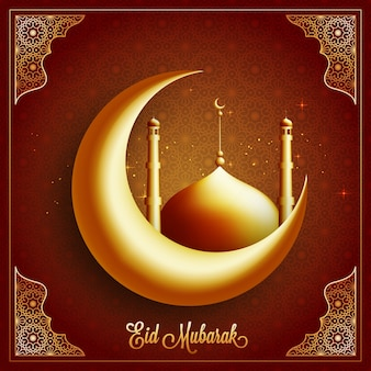 Glowing 3d crescent moon with mosque on floral design background. beautiful greeting card for islamic holy festival, eid mubarak celebration.