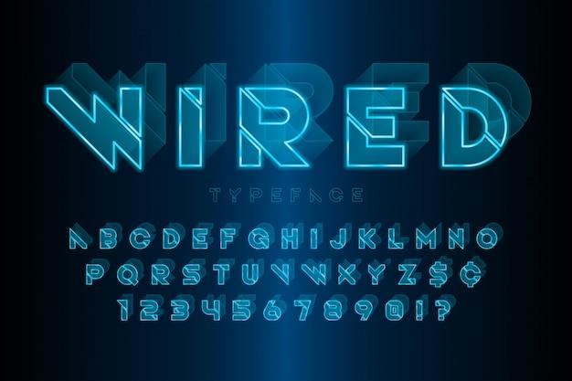 Светящийся 3d футуристический научно-фантастический алфавит, набор творческих персонажей.