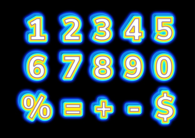 輝く3d形状のブロック番号セット