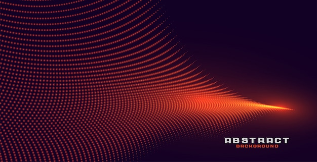 Glowing abstract orange particle wave background