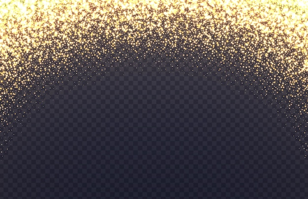 Glowing arch border with sparkles. fallen golden dust isolated on transparent background.