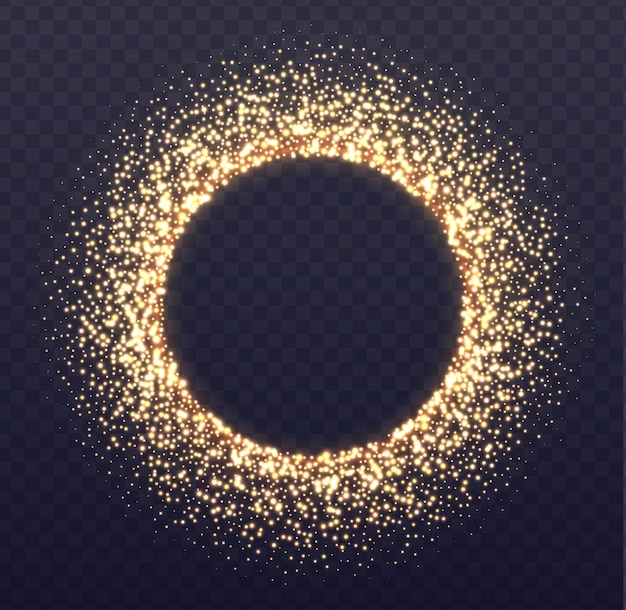 Glowing arch border with sparkles. fallen golden dust isolated on transparent