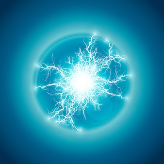 Glowing ball lightning on black transparent