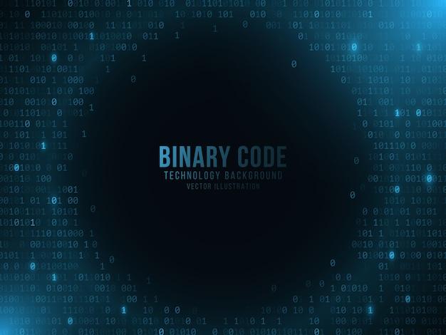 暗い青色の背景に光るバイナリコード。ハイテクデザイン。