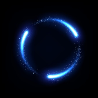 Светящийся синий круг след неоновая рамка освещения векторные иллюстрации