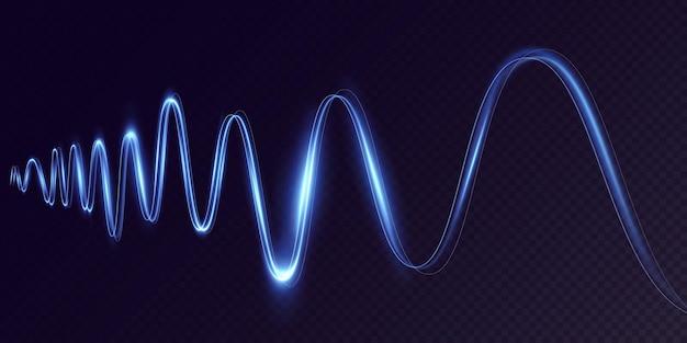 透明な背景で動いている輝く青いダイナミックなクルクル回す未来的なライトストリップラインpng