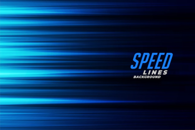 Glowing blue fast motion speed lines background