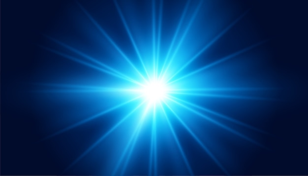 Glowing blue lens flare light effect