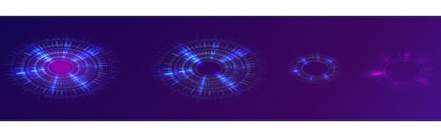 輝く青いネオンリング、未来的なデジタルサークル