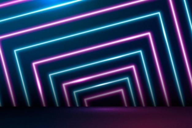 Linee al neon blu e rosa incandescente con motivi sullo sfondo