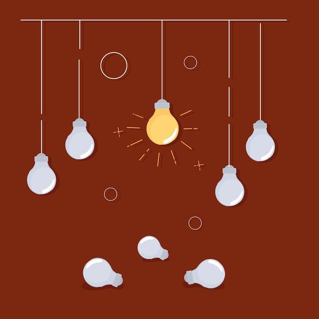 빛나는 전구 독창성 개념