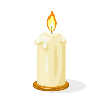 Glowing burning candle with melted wax is on metallic round candlestick.