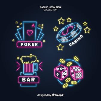 Светящиеся неоновые вывески казино