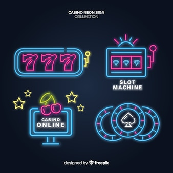 Glowing casino neon sign collection