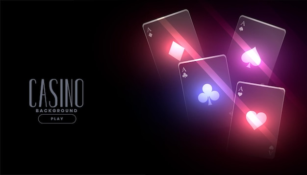 Glowing casino playing cards banner