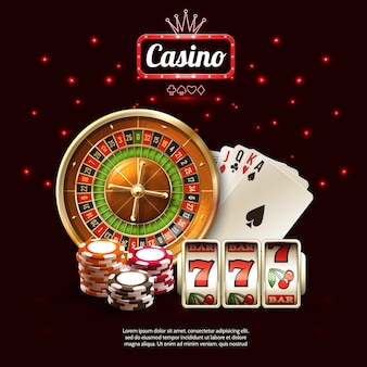 Glowing casino реалистичная композиция