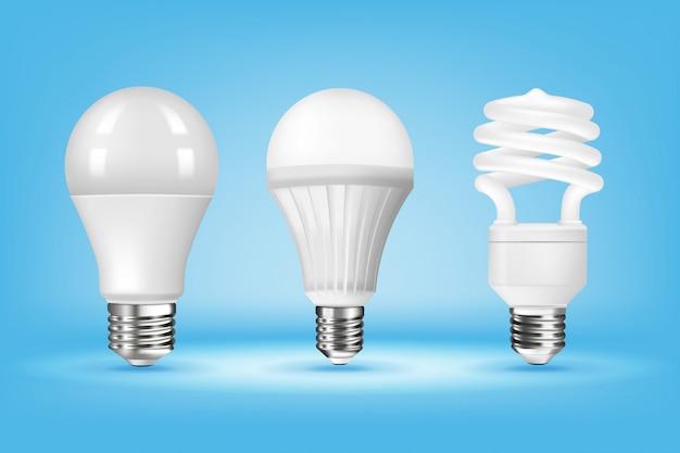 Светящиеся клл и светодиодные лампочки на синем фоне, реалистичный стиль.