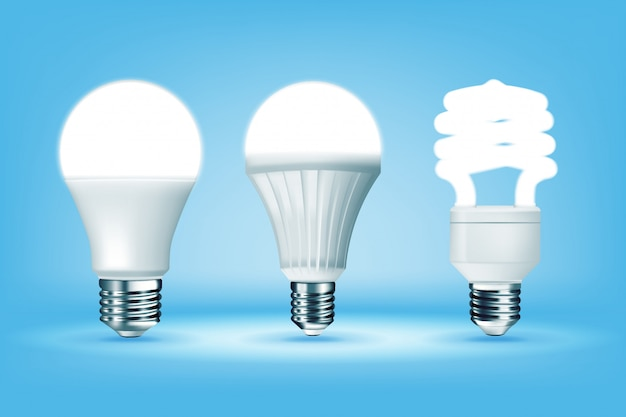 Glowing cfl and led light bulbs on blue background, realistic style. i