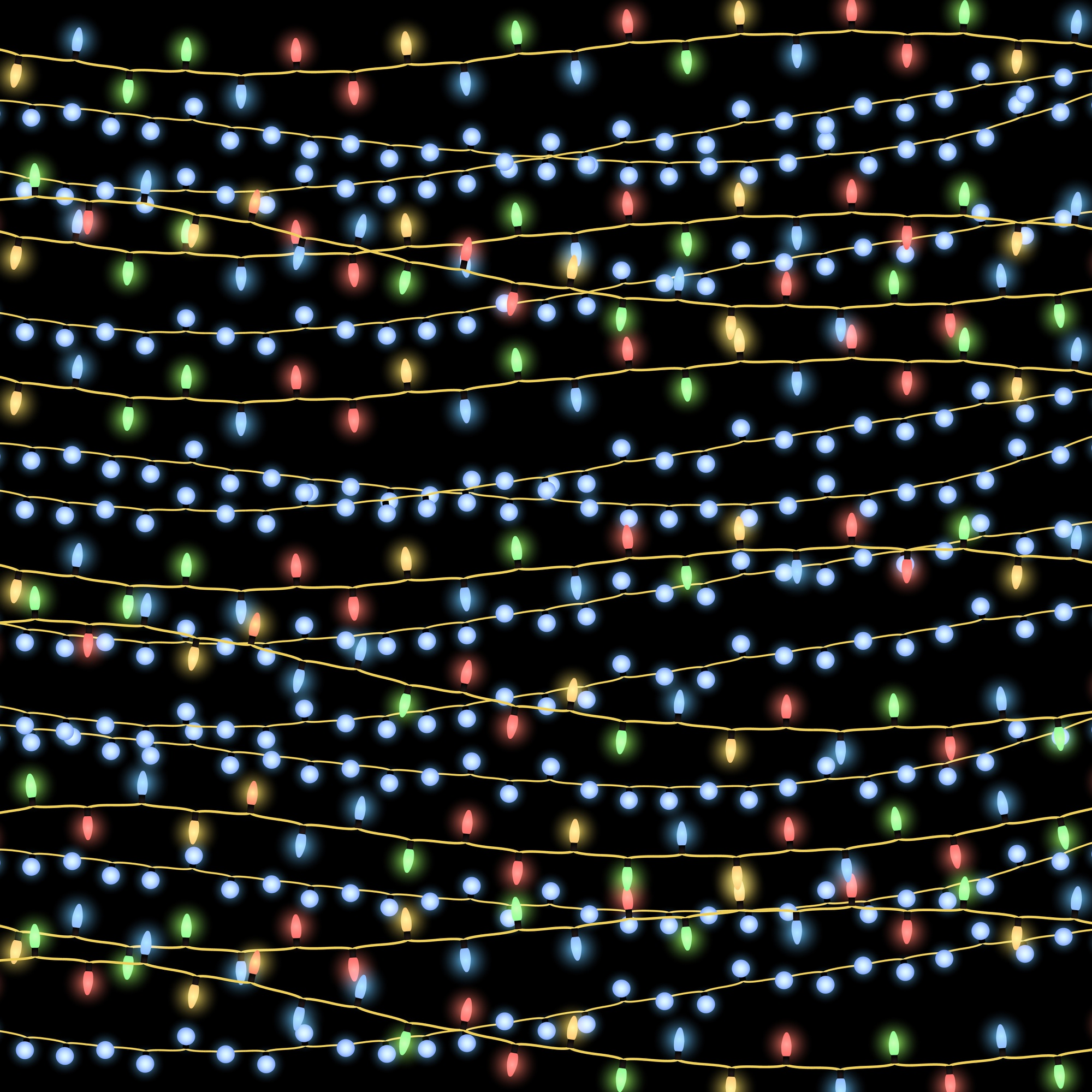 Glowing Christmas garlands vector background