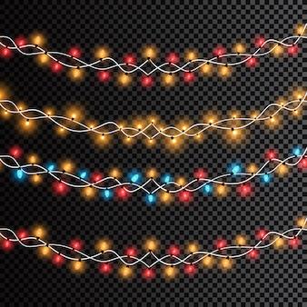 Светящиеся рождественские огни изолированы. гирлянды, новогодние украшения, световые эффекты.