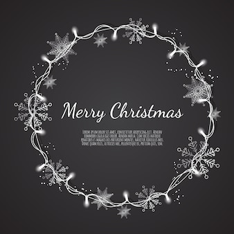 Glowing christmas lights wreath for xmas holiday greeting cards,