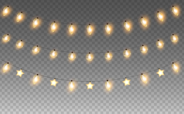 Glowing christmas or new year garlands string isolated light bulbs vector lights decorations set