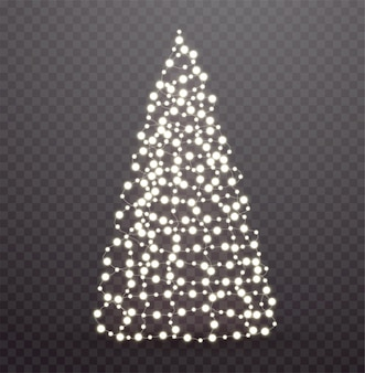 Glowing christmas tree made of lights and garlands.