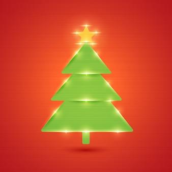 빛나는 크리스마스 트리. 새 해와 메리 크리스마스 장식. 엽서, 초대장 및 인쇄 자료. 삽화.