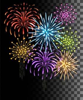 Glowing collection. colored firework, light effects isolated on transparent background.