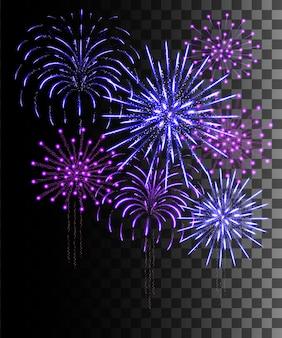 輝くコレクション。紫と青の花火、透明な背景に分離された光の効果。