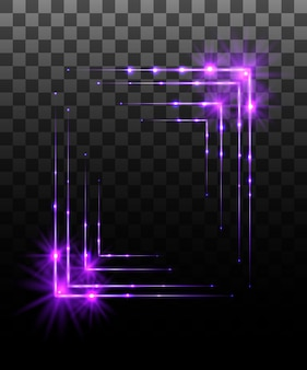 Glowing collection. purple border frame effect, light effects  on transparent background. sunlight lens flare, stars. shining elements.  illustration