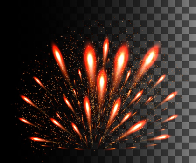 Glowing collection. red firework, light effects  on transparent background. sunlight lens flare, stars. shining elements. holiday fireworks.  illustration