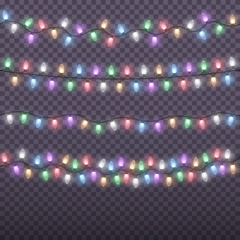 Glowing colorful christmas garlands string. christmas lights