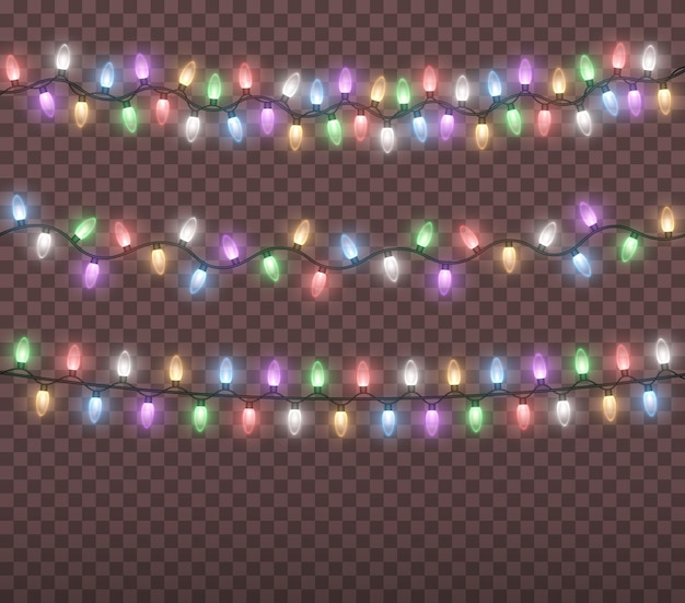 Glowing colorful christmas lights string