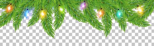 전나무 가지 벡터 전구와 빛나는 화려한 크리스마스 또는 새해 화환 문자열