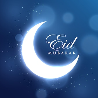 Glowing crescent moon for the eid mubarak festival on blue background