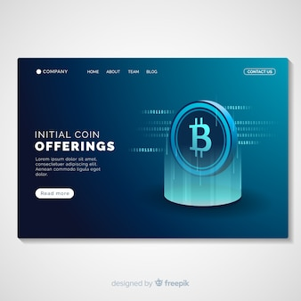 Glowing cryptocurrency landing page template