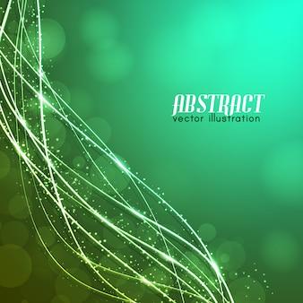 Светящиеся изогнутые волокна с блестками и размытыми огнями на зеленом фоне