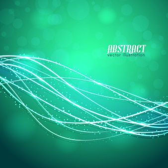 Glowing curved fibres with sparkles and blurred lights on green background