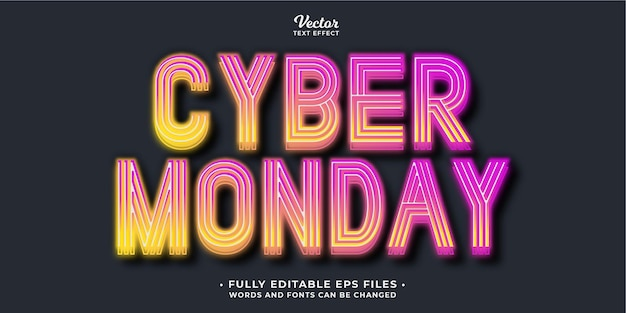 Glowing cyber monday sale text effect fully editable eps cc words and fonts can be changed